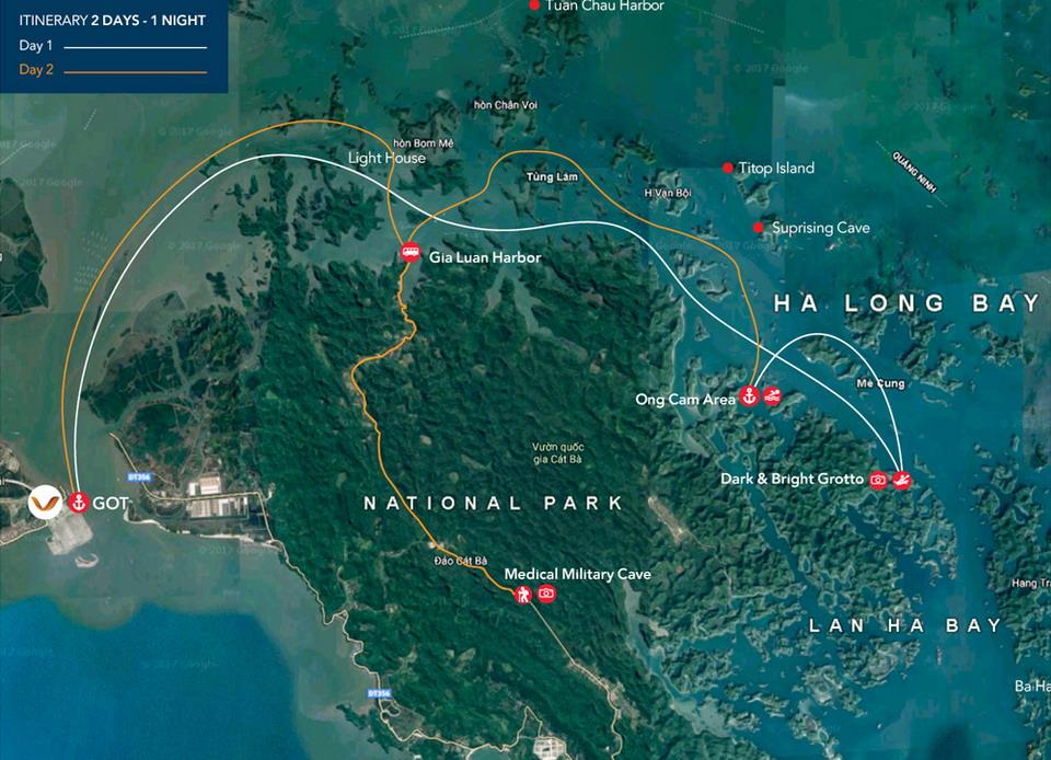 LAN HA BAY TRAVEL MAP FROM GOT PIER HAI PHONG